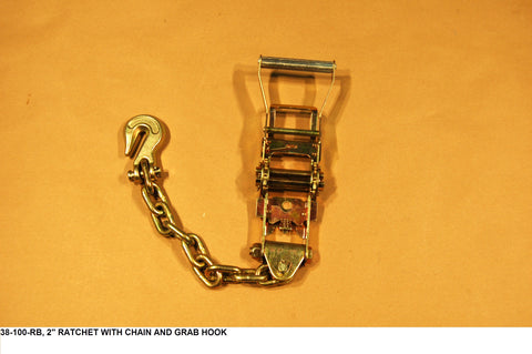 "2"" Ratchet W/Chain And Grab Hook"