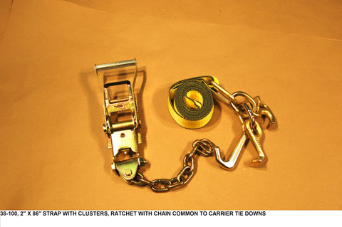 "2"" X 86"" Strap W/Clusters, Ratchet W/Chain Common To Carrier Tie Downs 4 Point/Corner"
