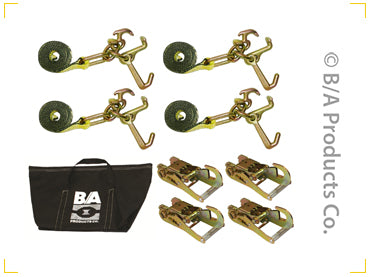 BA PRODUCTS TIE DOWN KIT 4 X 8FT STRAP W/CLUSTERS 4 X RATCHET WITH SNAP HOOKS HD VERSION