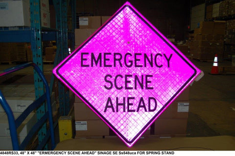 "48"" + 48"" Pink Emergency Scene Sign PN: 4848RS33"