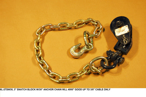 "3"" Snatch Block W/30"" Anchor Chain Wll 4000#"