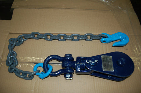 "4.5"" Sheave 4 Ton Snatch Block 3/8"" To 1/2"" Rope With 30"" Grade 100 Rat Tail Chain W/Grab 6i-4TSW30"