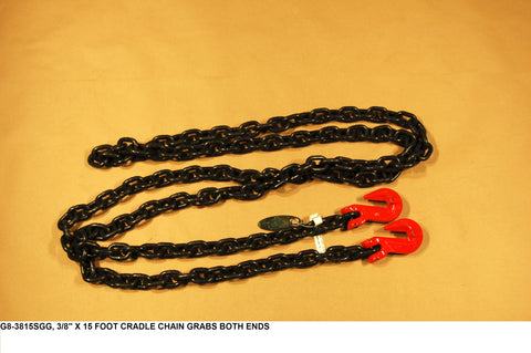 "3/8"" X 15 Foot Cradle Chain Grabs Both Ends"