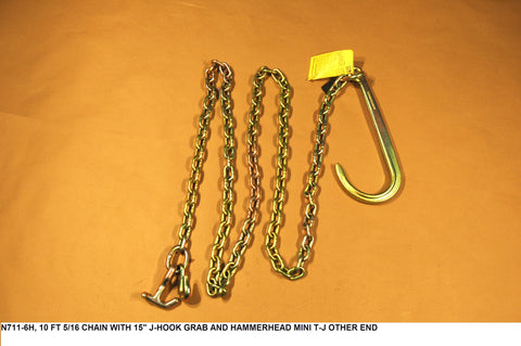 "10 ft 5/16"" Chain With 15"" J Hook Grab & Hammerhead Mini T-J"
