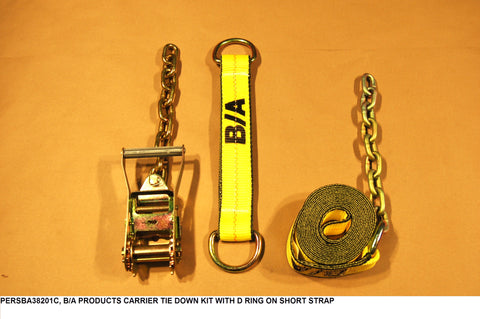 Carrier Tie Down Kit With D Ring On Short Strap