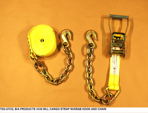 3330 Wll Cargo Strap W/Grab Hook And Chain