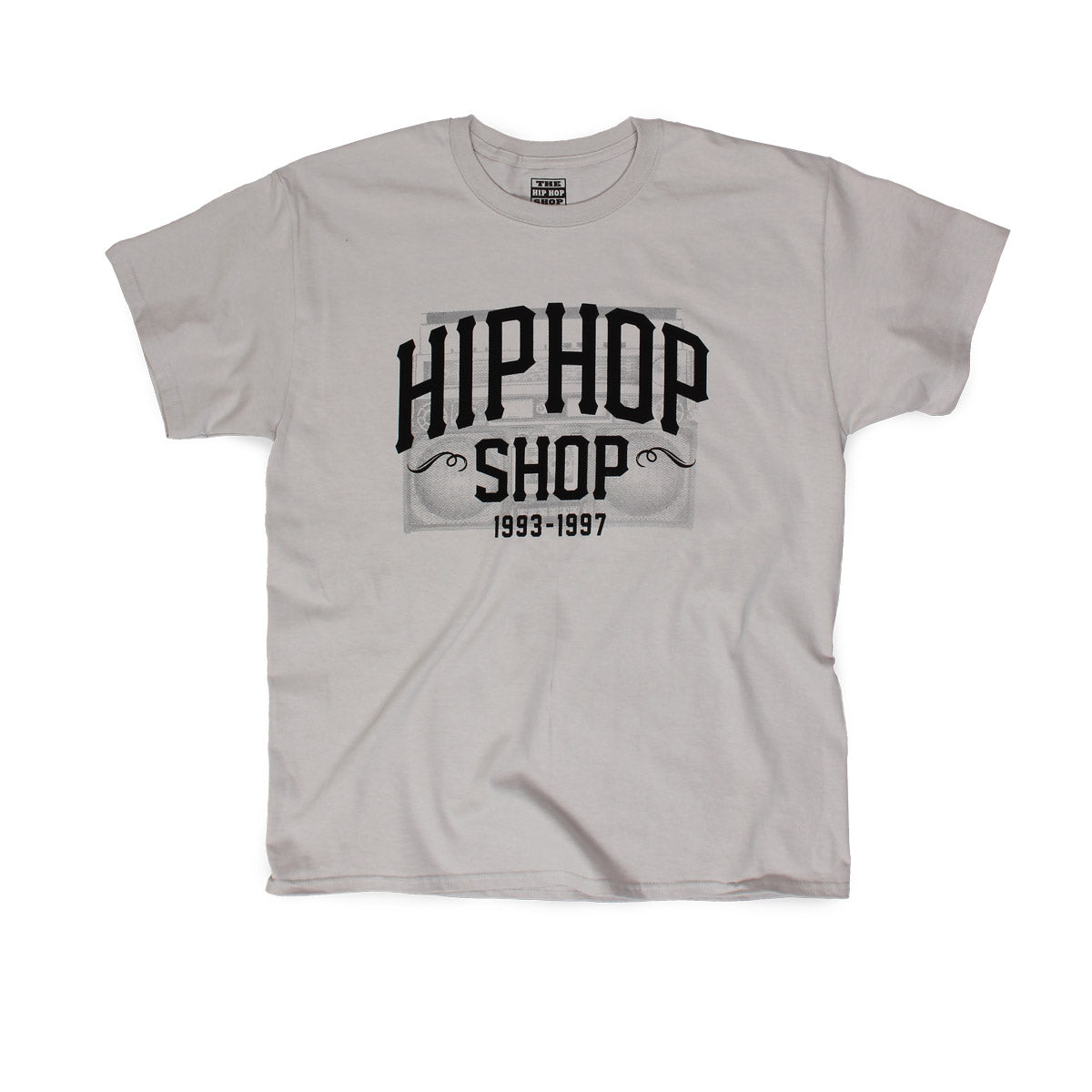 The Hip Hop Shop radio logo gray t-shirt