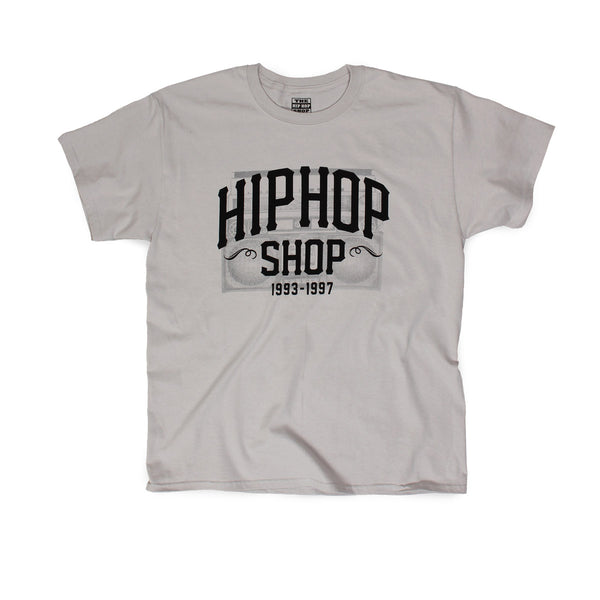 Hip Hop Shop logo men's gray throwback t-shirt