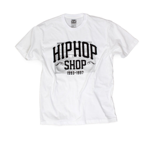 The Hip Hop Shop radio logo white t-shirt