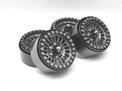 Venomous KRAIT™ 1.9 Aluminum Beadlock Wheels with 8mm Wideners (4) black