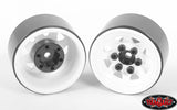 RC4ZW0111 Stamped Steel 1.0'' Stock Beadlock Wheels (White)