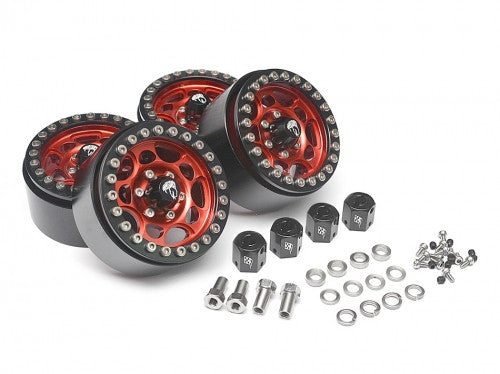 Sandstorm KRAIT™ 1.9 Aluminum Beadlock Wheels with 8mm Wideners (4) RED