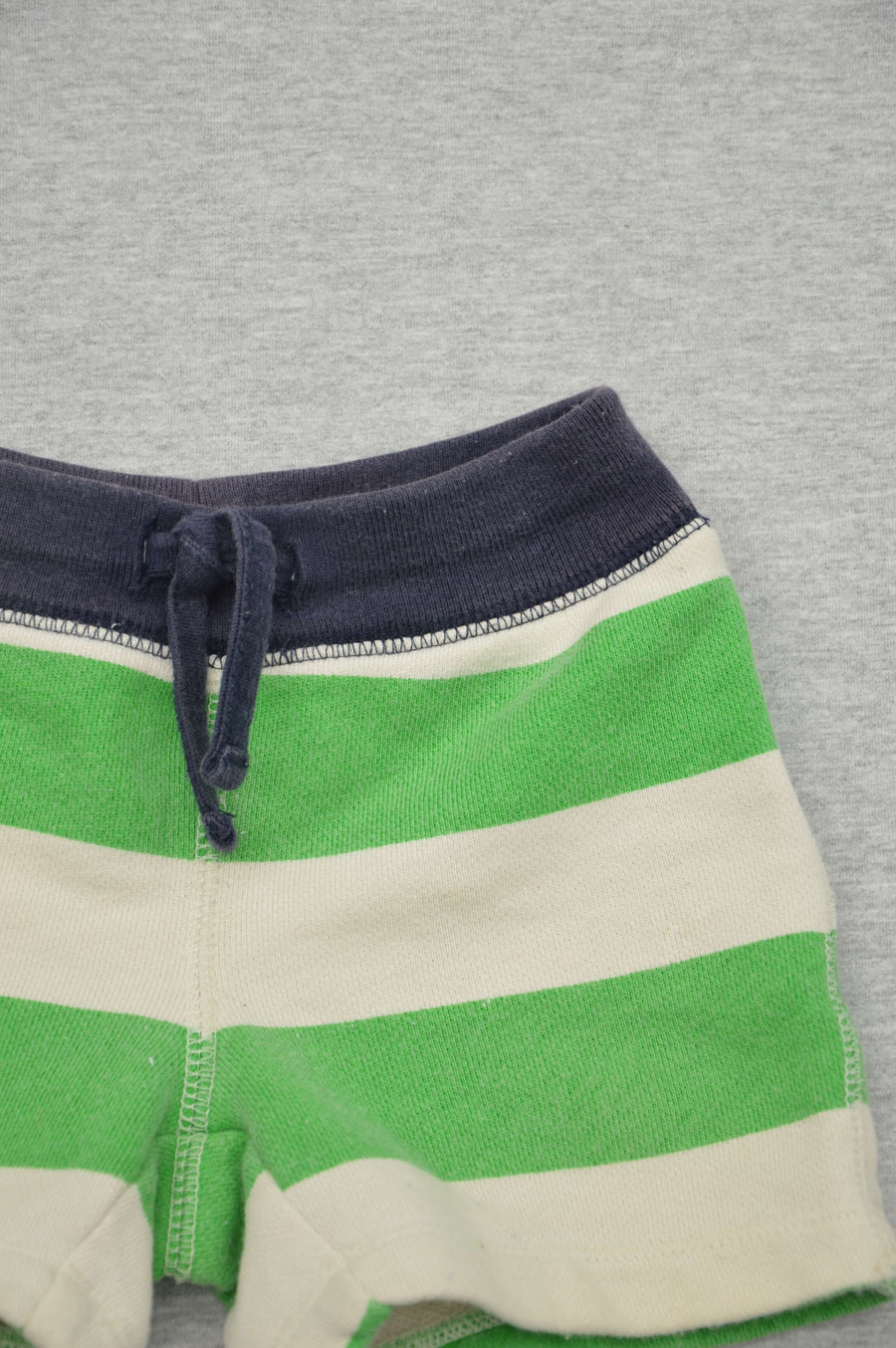 Gap cream & green striped shorts, size 3-6m