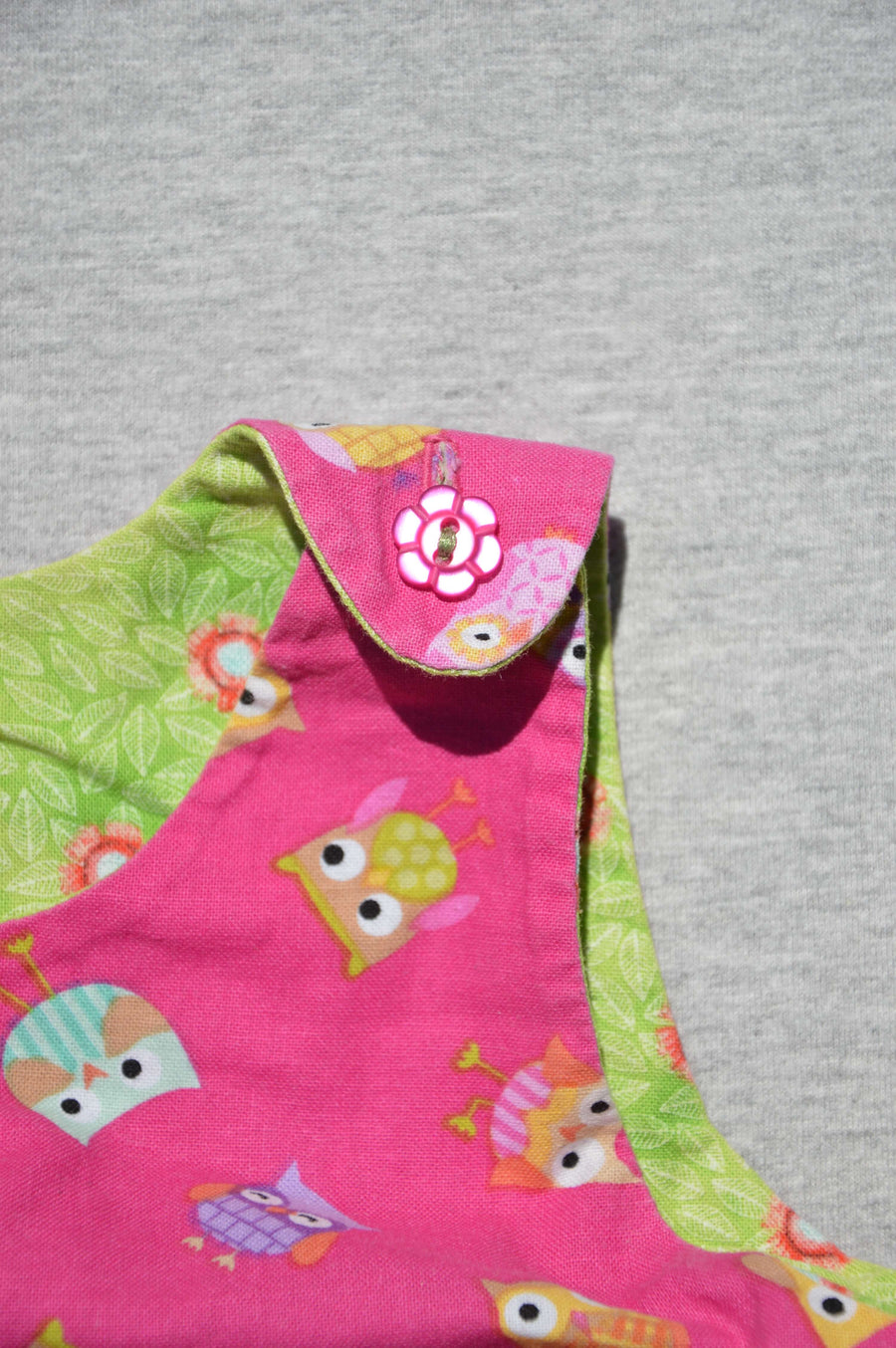 Professionally handmade pink & green reversible dress, size 3