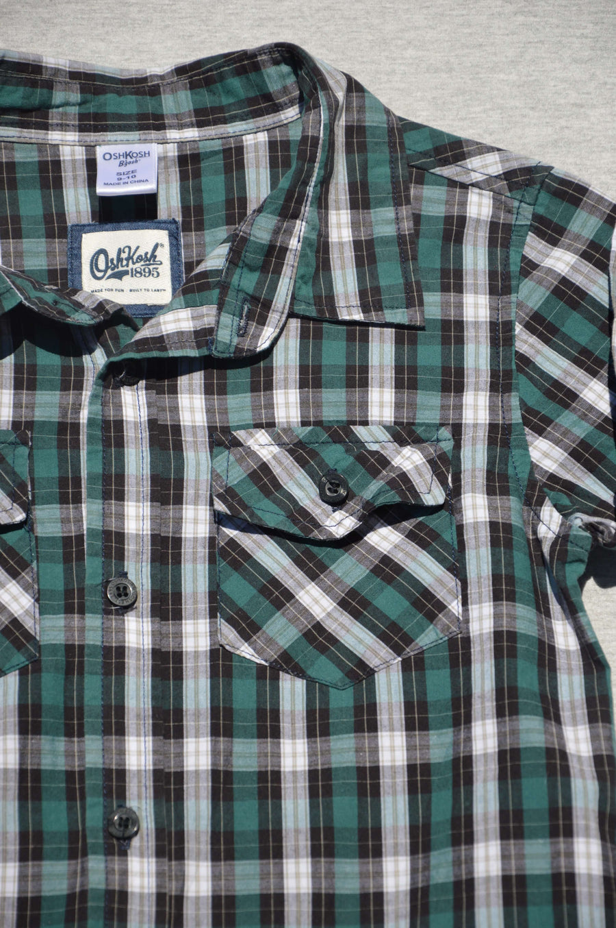 OshKosh - nearly new - green & black checked long-sleeved shirt, size 9-10