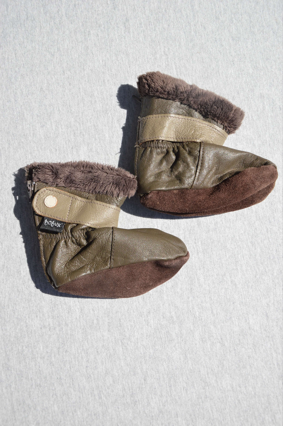 Bobux brown leather furry booties, size L