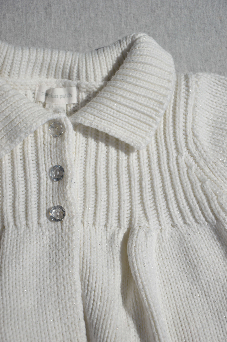 Pumpkin Patch white sparkle chunky-knit cardigan, size 12-18m