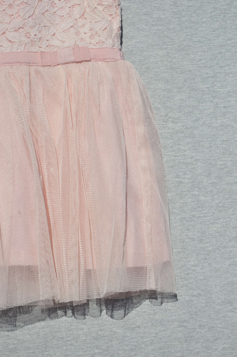 Next - nearly new - peach lace & tulle party dress, size 6-9m
