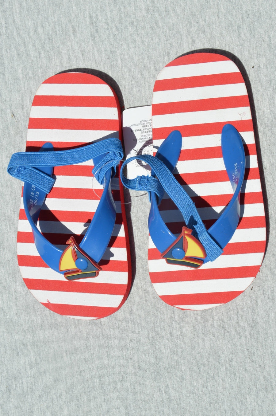 Mothercare - brand new - red & white striped jandals, size NZ 6