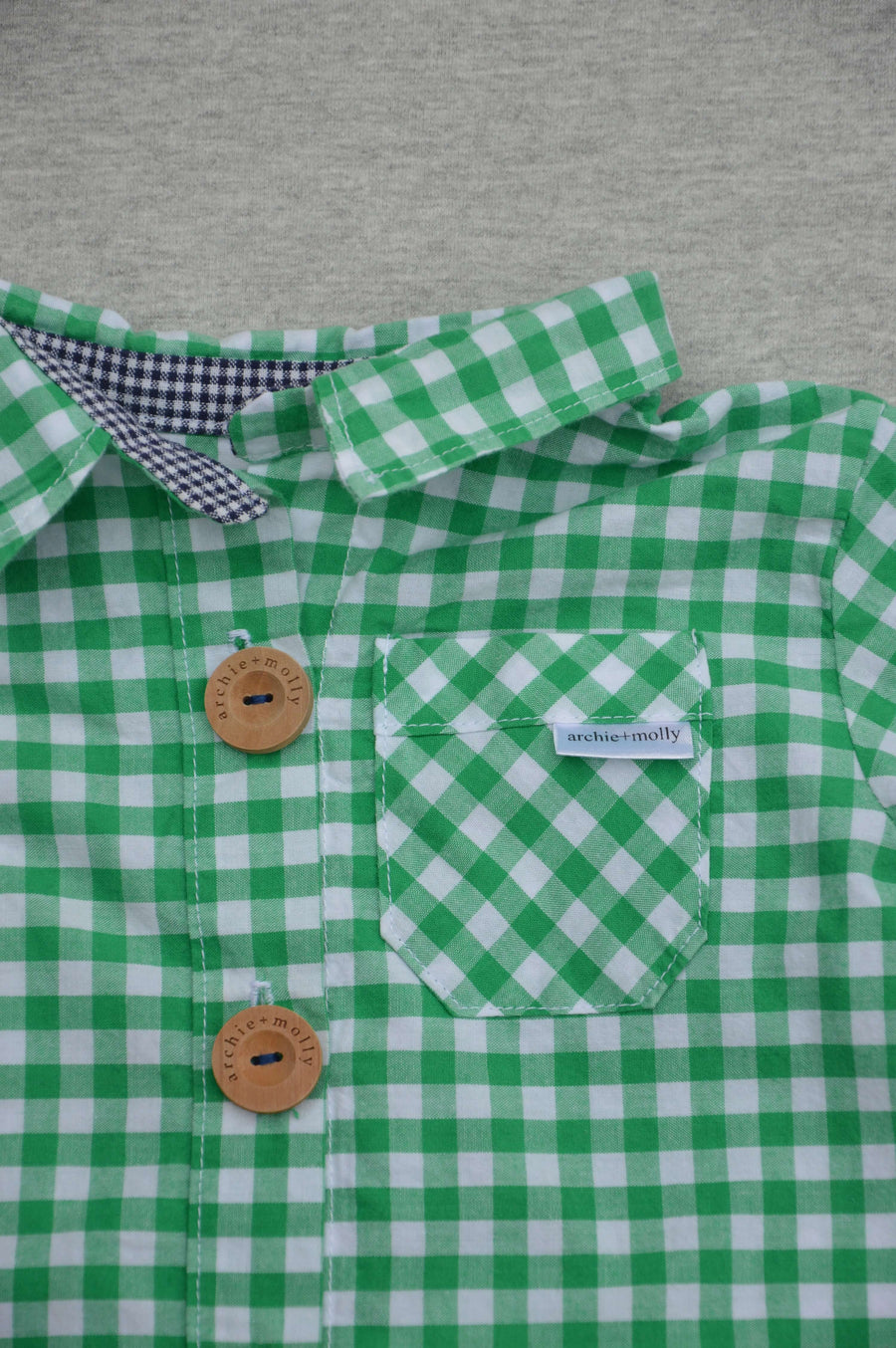 Archie & Molly - nearly new - green & white checked shirt, size 6-12m