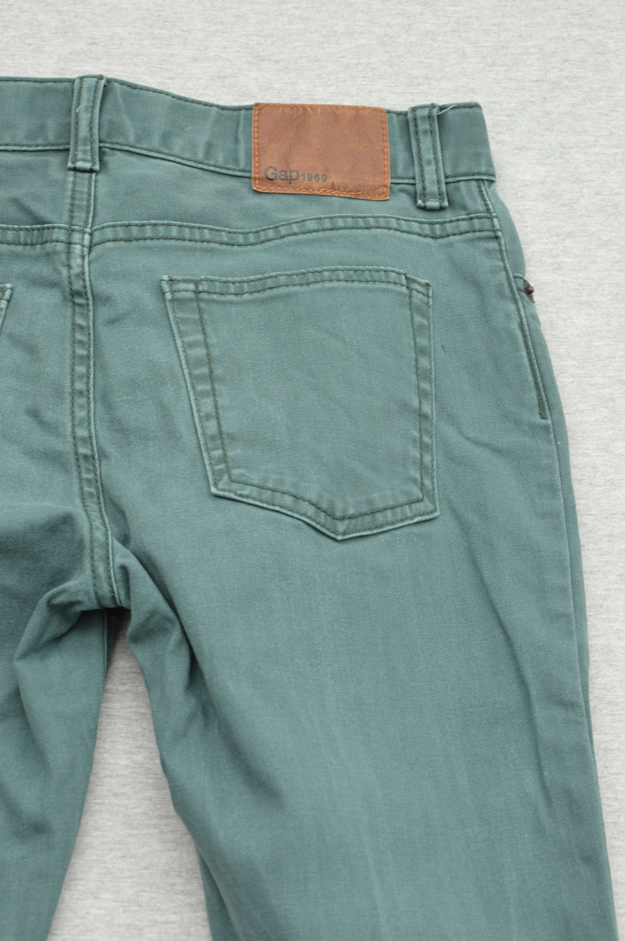 Gap green herringbone straight leg jeans, size 10