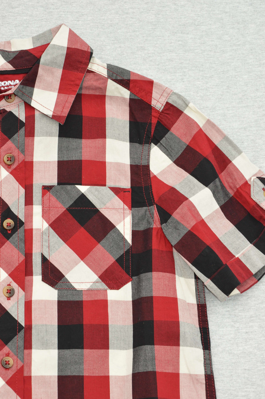 Arizona - nearly new - red, black & white check shirt, size 8