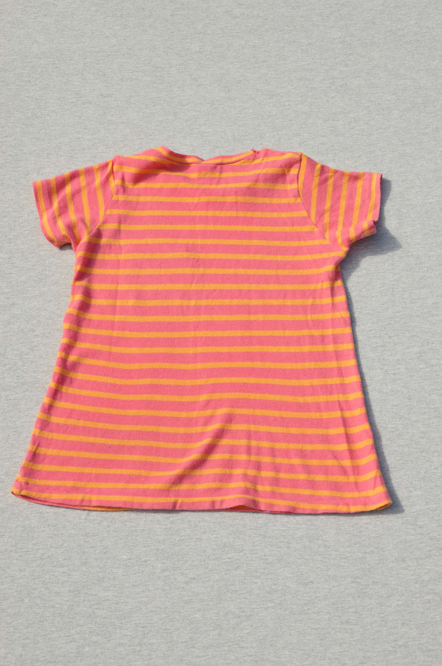 Bonds pink striped fine-knit t-shirt with feature pocket, size 12-18m
