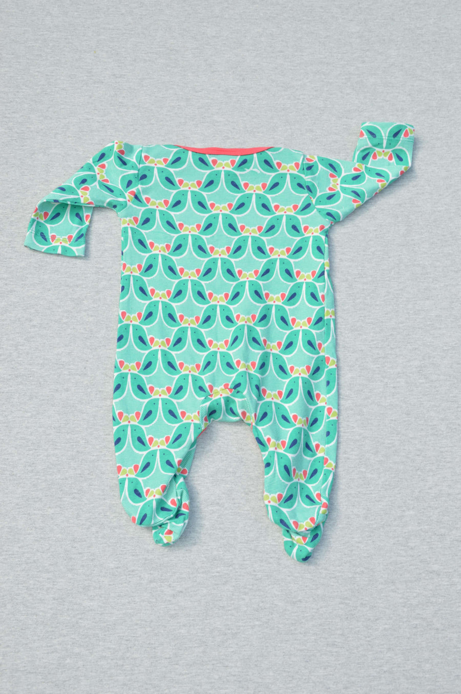Miniclub - nearly new - green bird patterned onesie, size 0-3m