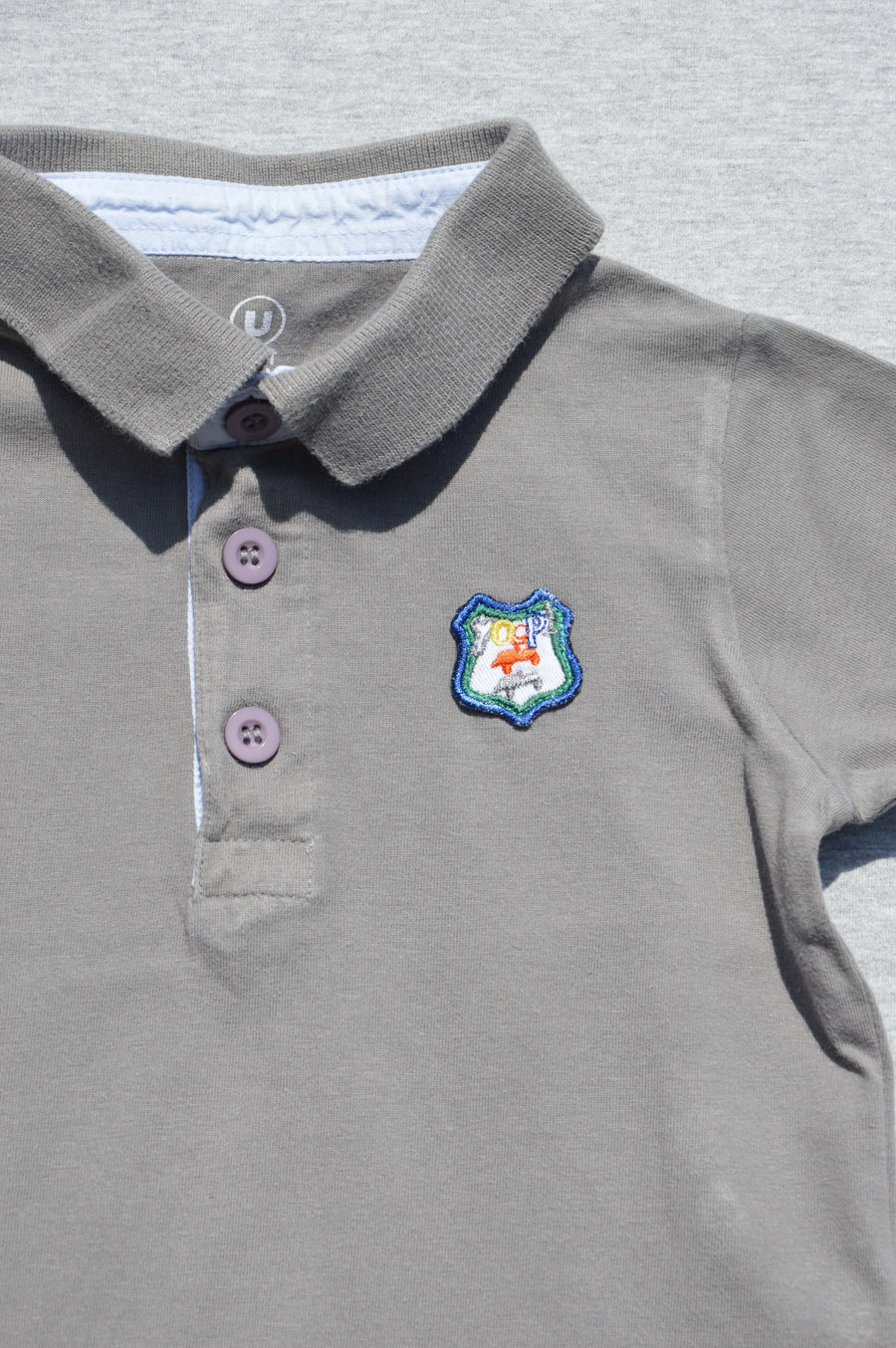 Tout Petits - nearly new - sage polo shirt, size 12-18m