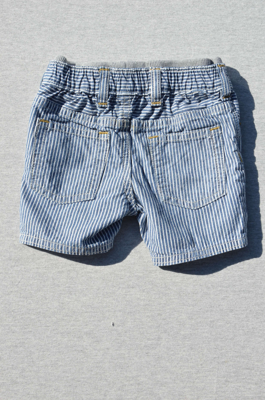 Gap - nearly new - blue & white striped denim shorts, size 6-12m