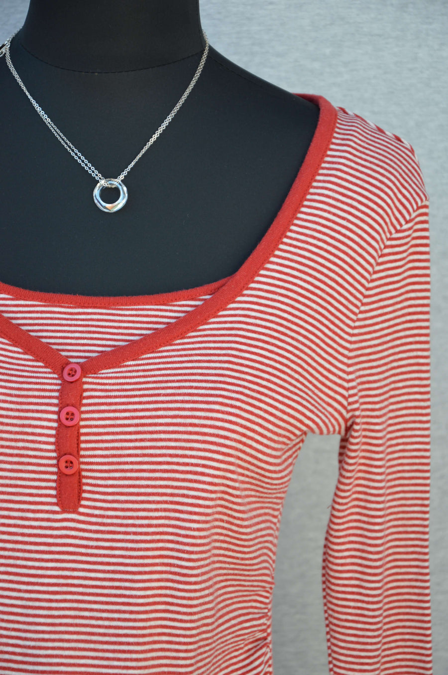 Patch Maternity orange & cream striped breastfeeding tee, size XS (NZ 6/8)