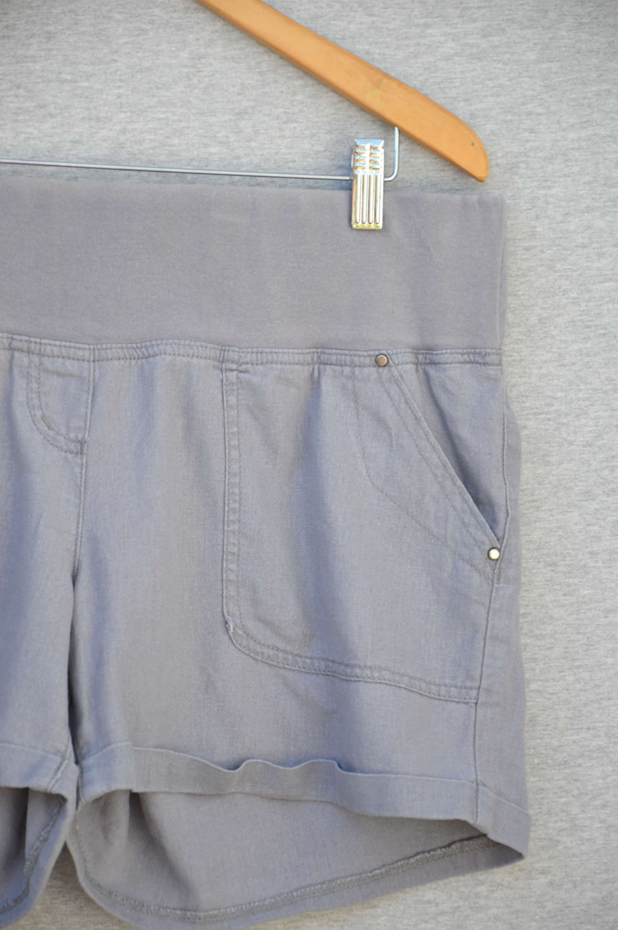 George Maternity grey linen on/under-bump shorts, size 12