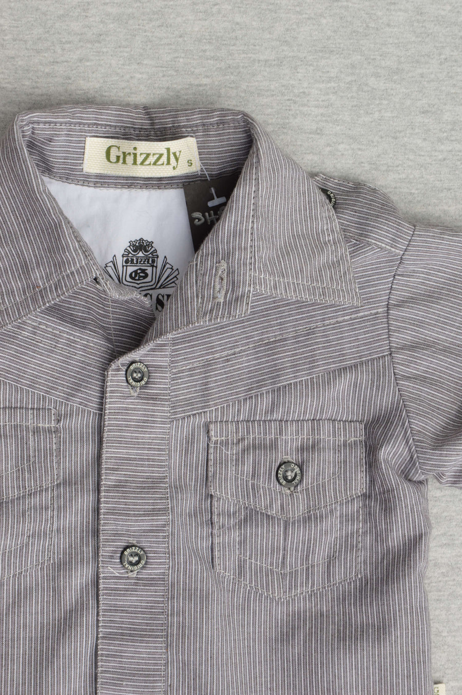 Grizzly - nearly new - grey & white striped long-sleeve shirt, size 12-18m