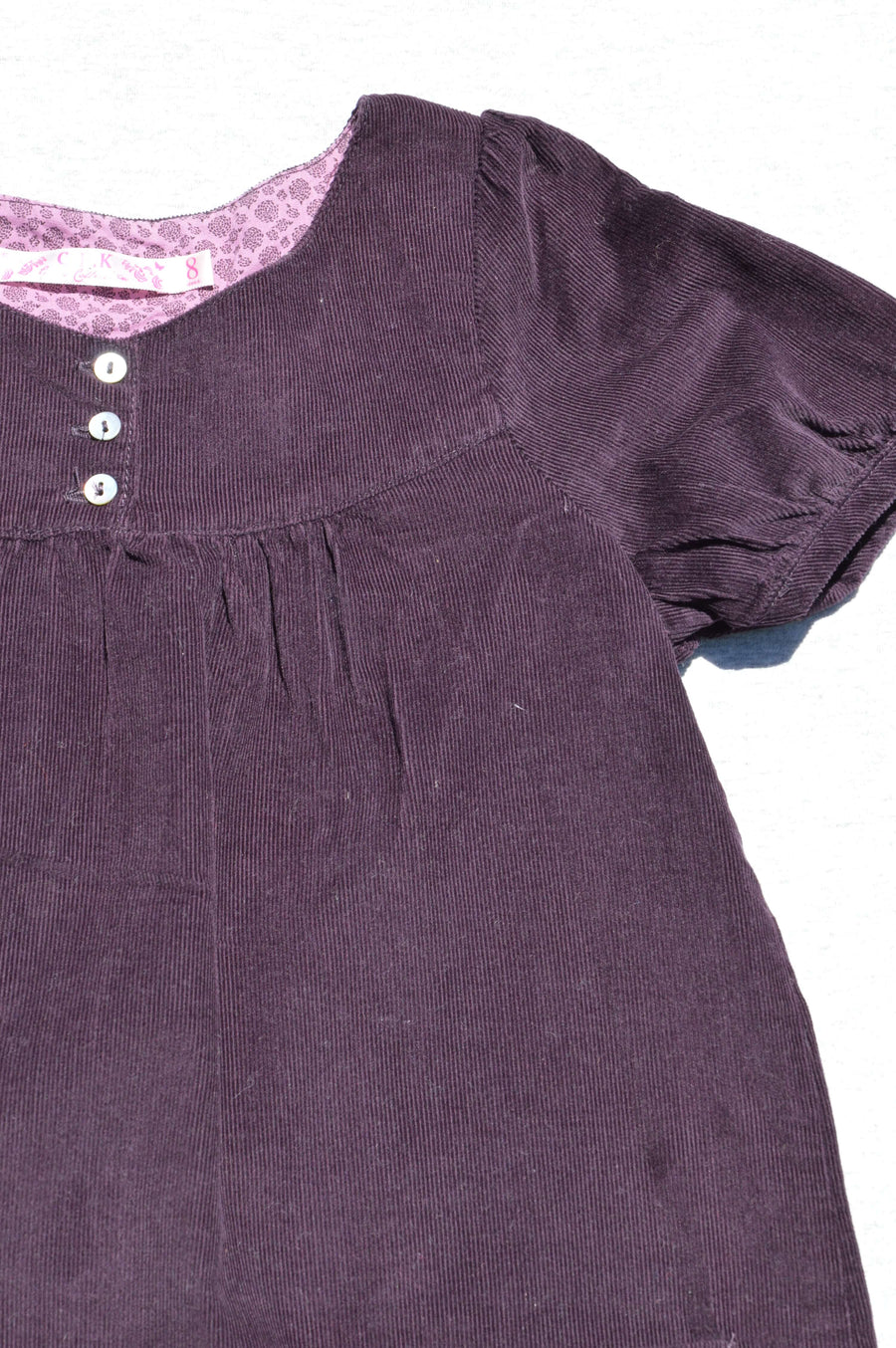 C.F.K - nearly new - dark aubergine corduroy pinafore dress, size 8