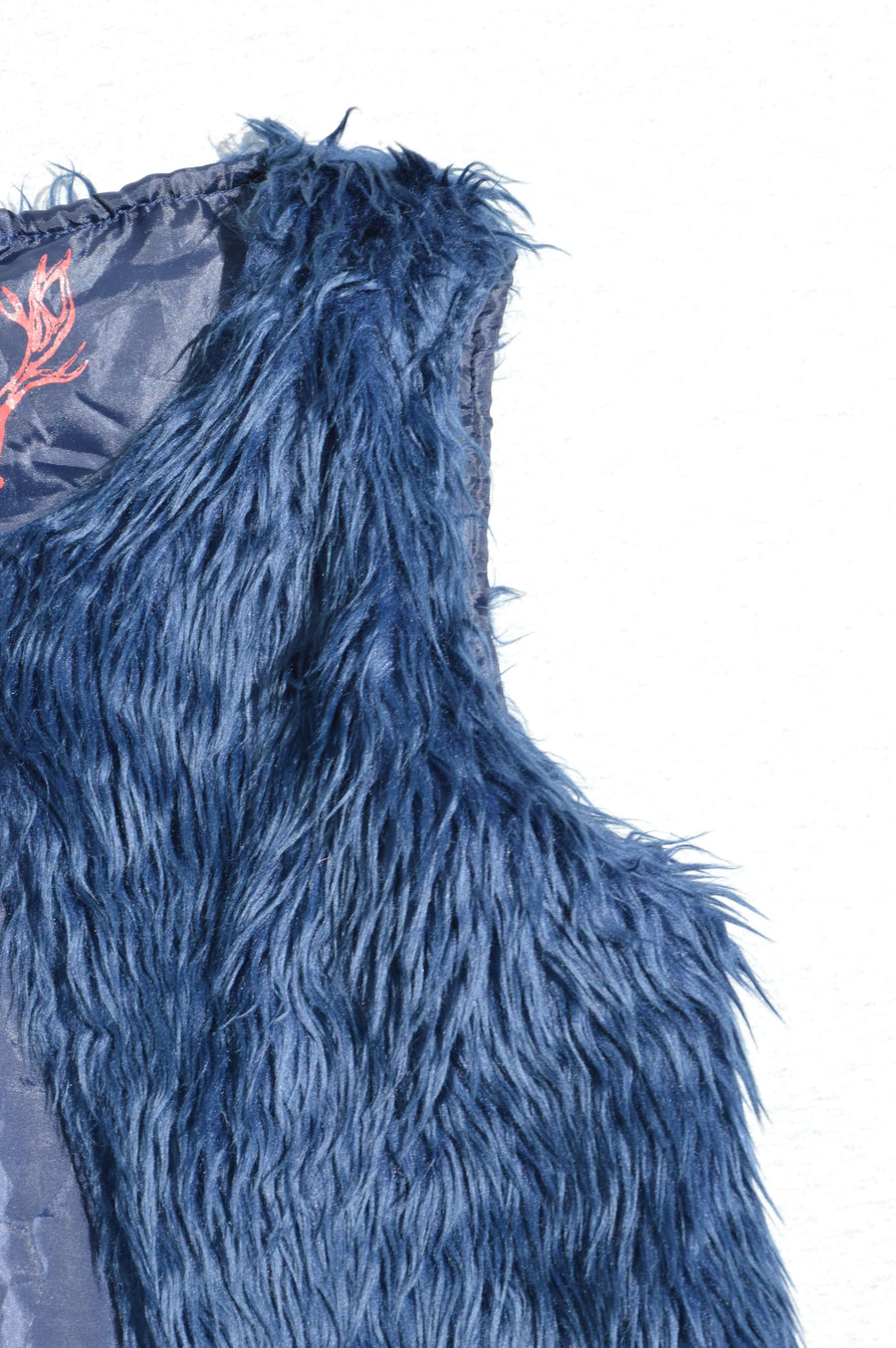 Nature Calling midnight blue shaggy synthetic fur waistcoat, size 12-13