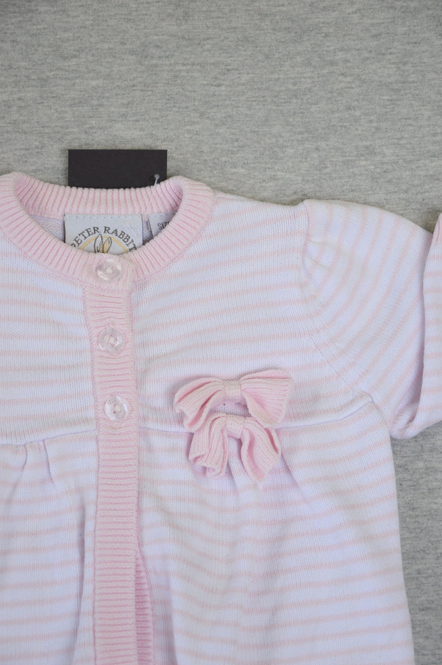 Peter rabbit - nearly new - pink & white striped knit cardigan, size 3-6m