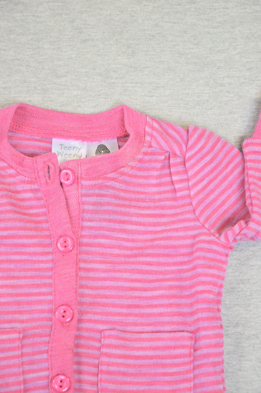 Teeny Weeny - nearly new - pink striped merino cardigan, size 0-3m