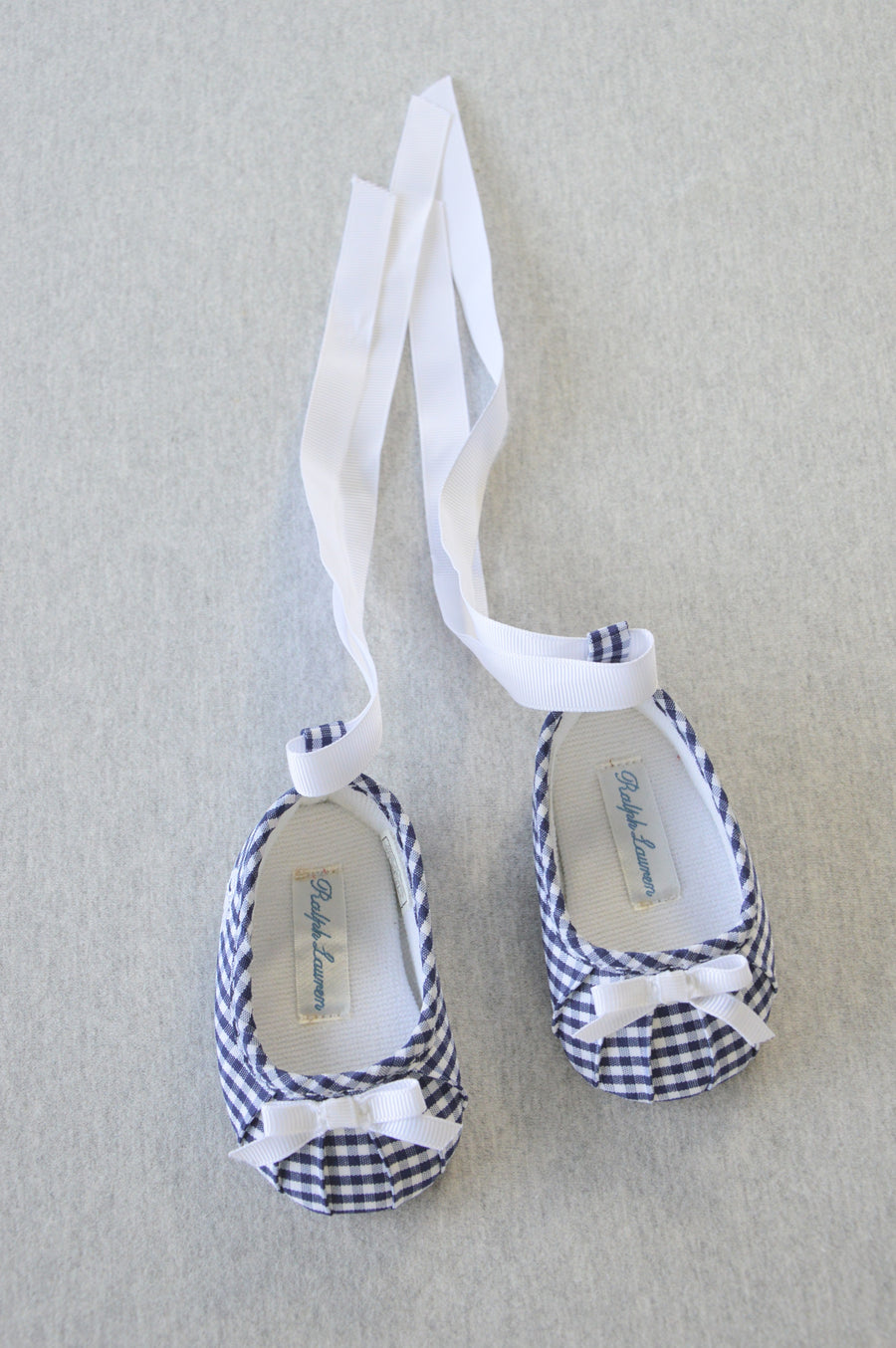 Ralph Lauren - nearly new - navy & white gingham ballerina shoes, size NB (shoe size US 0)