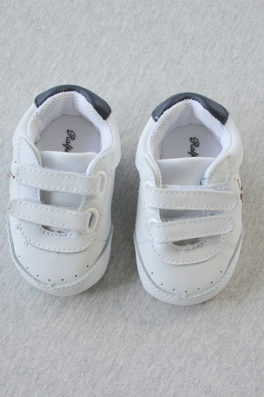 Ralph Lauren - nearly new - white leather sneaker shoes, size 3-9m (shoe size US 1)