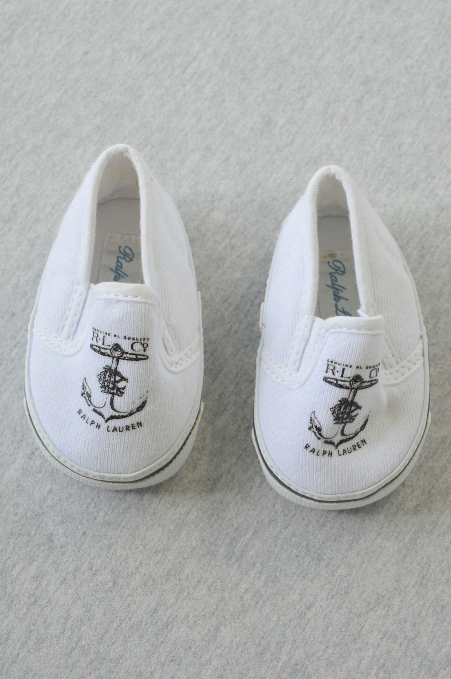Ralph Lauren - nearly new - white textile boat shoes, size NB (shoe size US 0)
