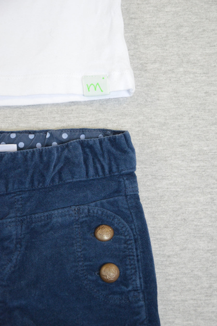 Zara & Minti - nearly new - white t-shirt & blue velvet pants, size 0-6m