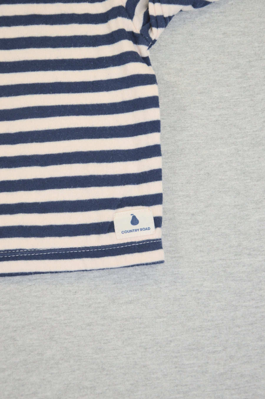 Country Road - nearly new - blue & cream striped thermal t-shirt, size 0-3m