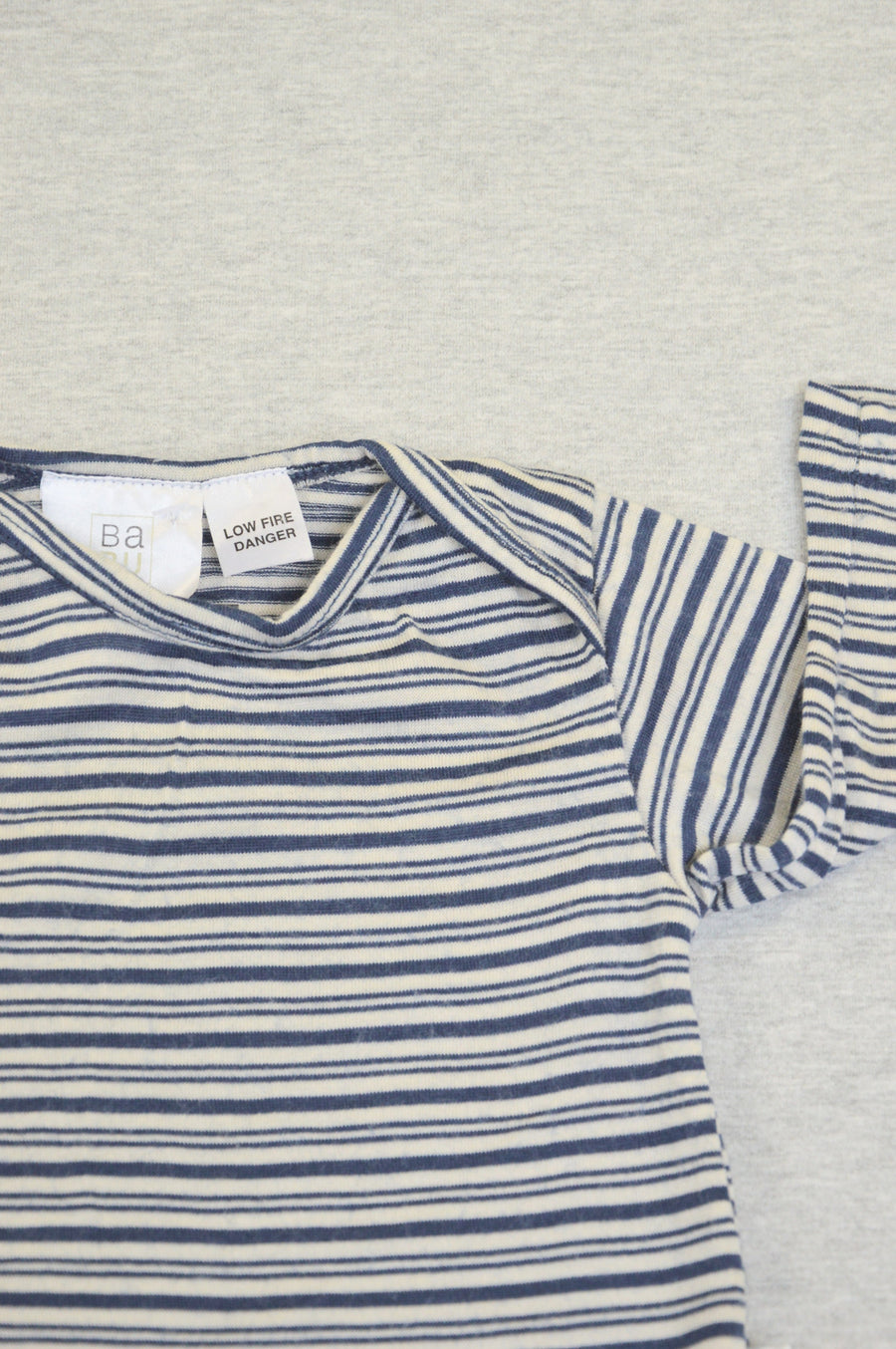 BaBU - nearly new - navy & cream striped merino t-shirt, size 0-3m