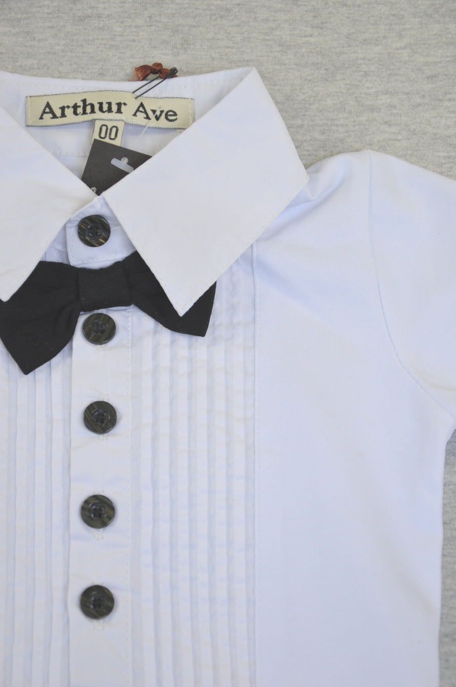 "Arthur Ave - brand new - white ""evening shirt"" formal onesie, size 3-6m"