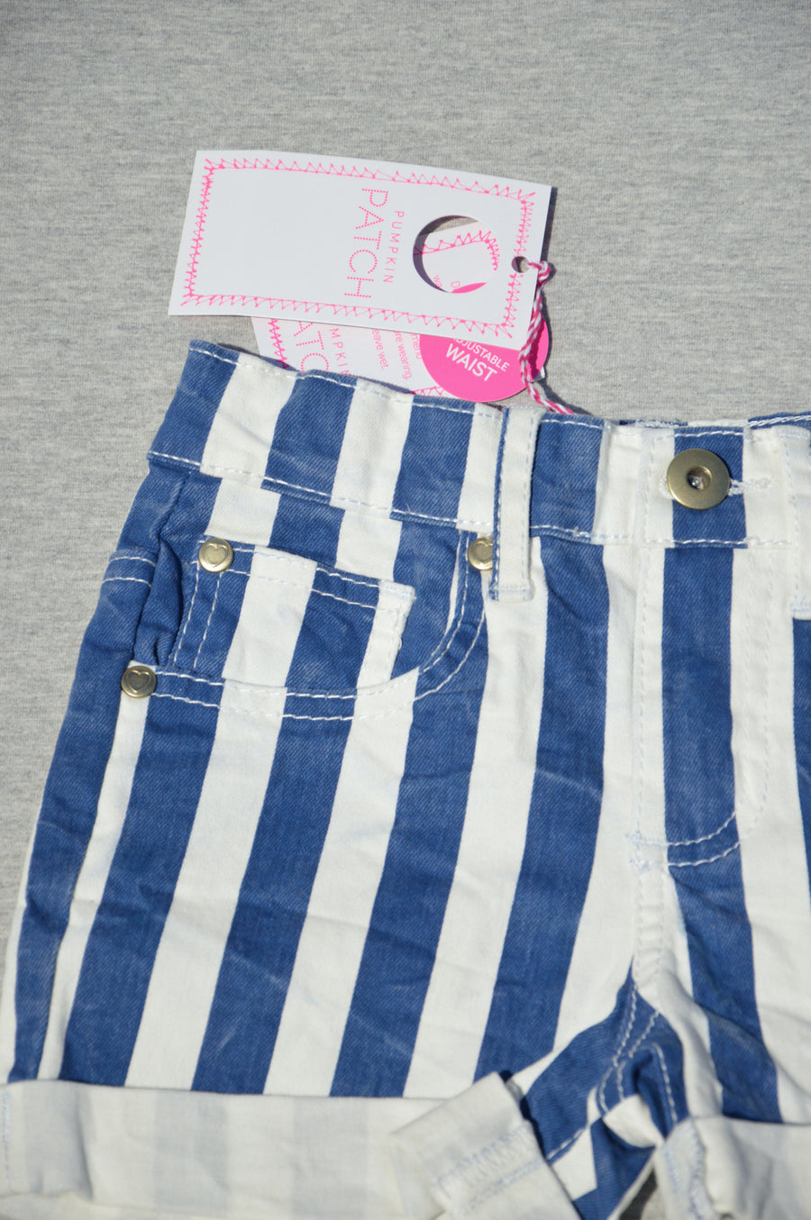 Pumpkin Patch - brand new - blue & white striped shorts, size 5