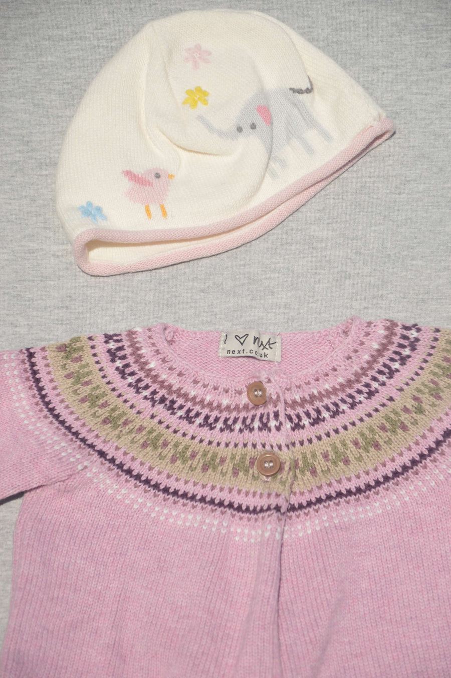 John Lewis & Next  - nearly new - cream beanie & pink cardigan, size 3-6m