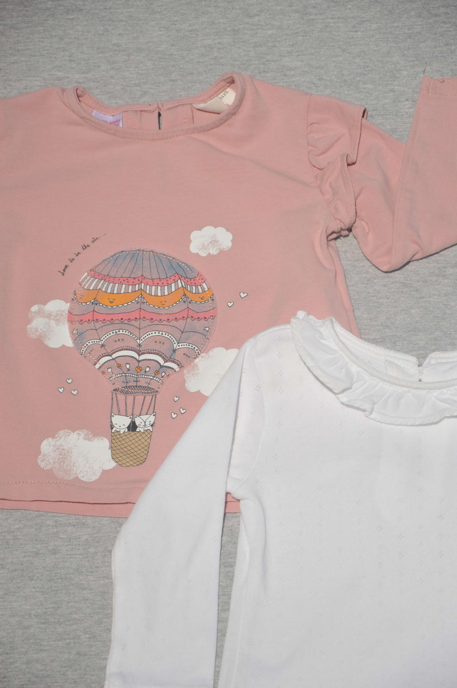 Next & Zara - nearly new - cream & pink t-shirts, size 6-9m