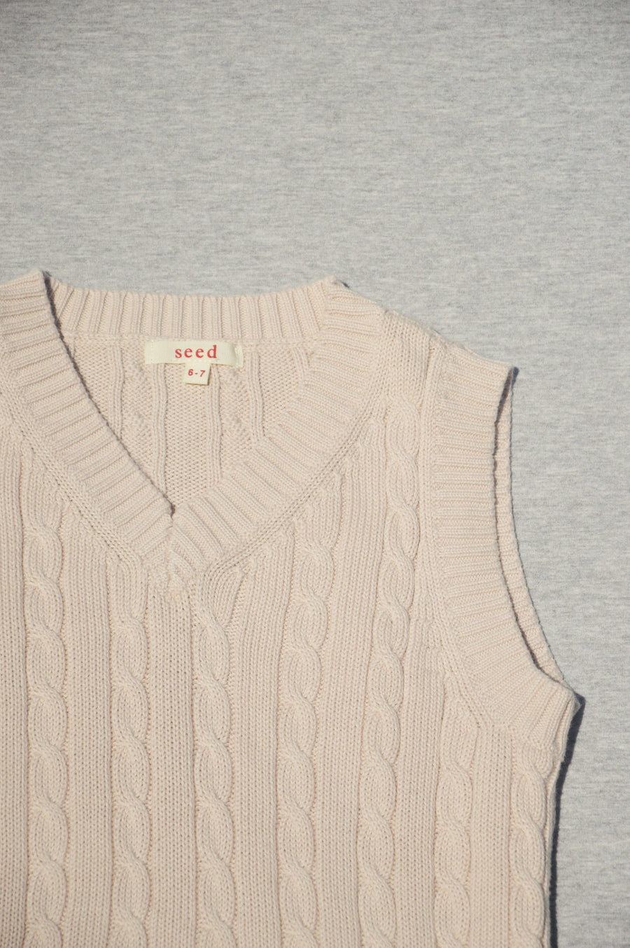 Seed - nearly new -  taupe cable knit vest, size 6-7