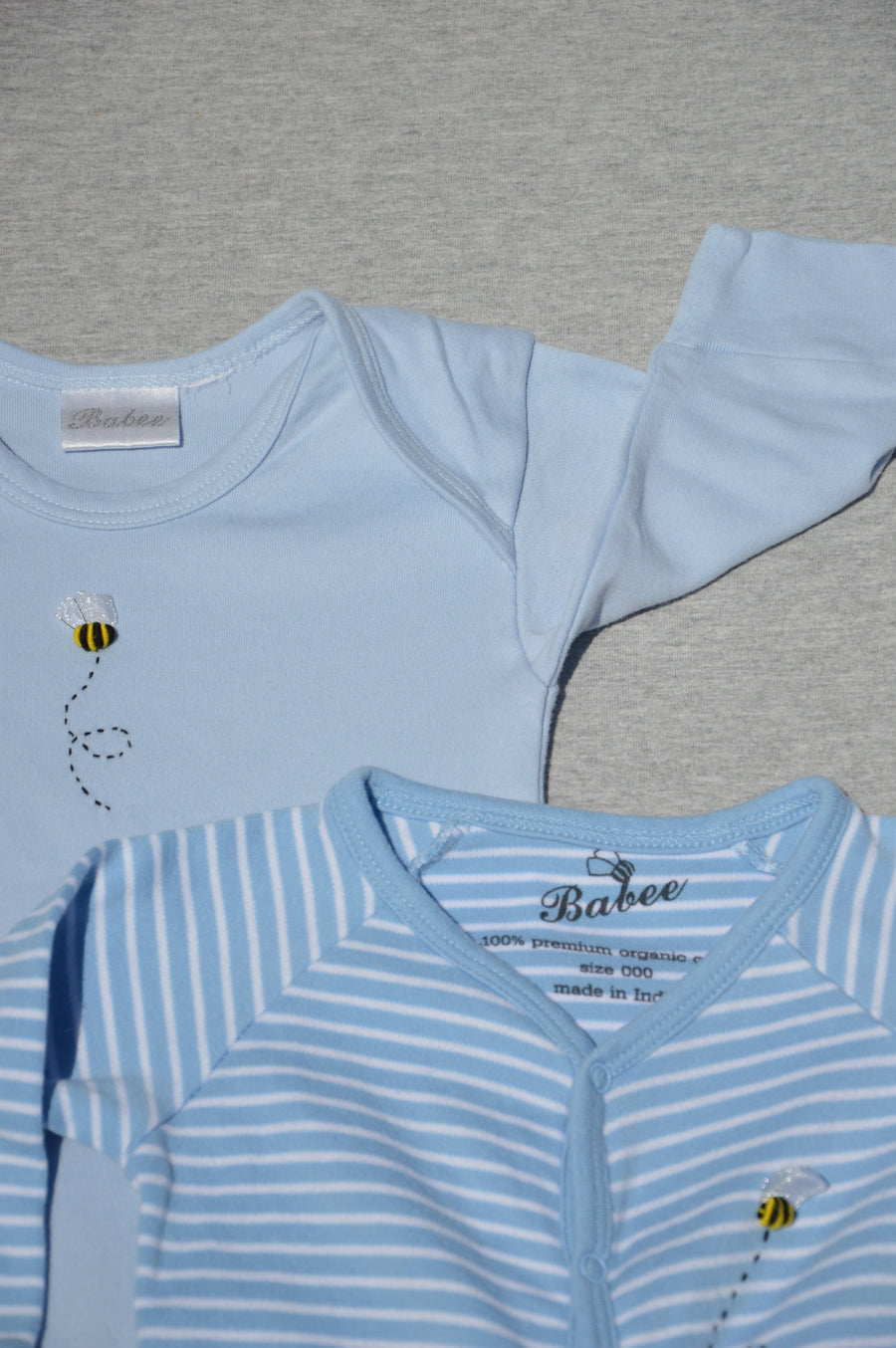 Dimples Babee - nearly new - striped onesie & pale blue nightgown, size 0-3m
