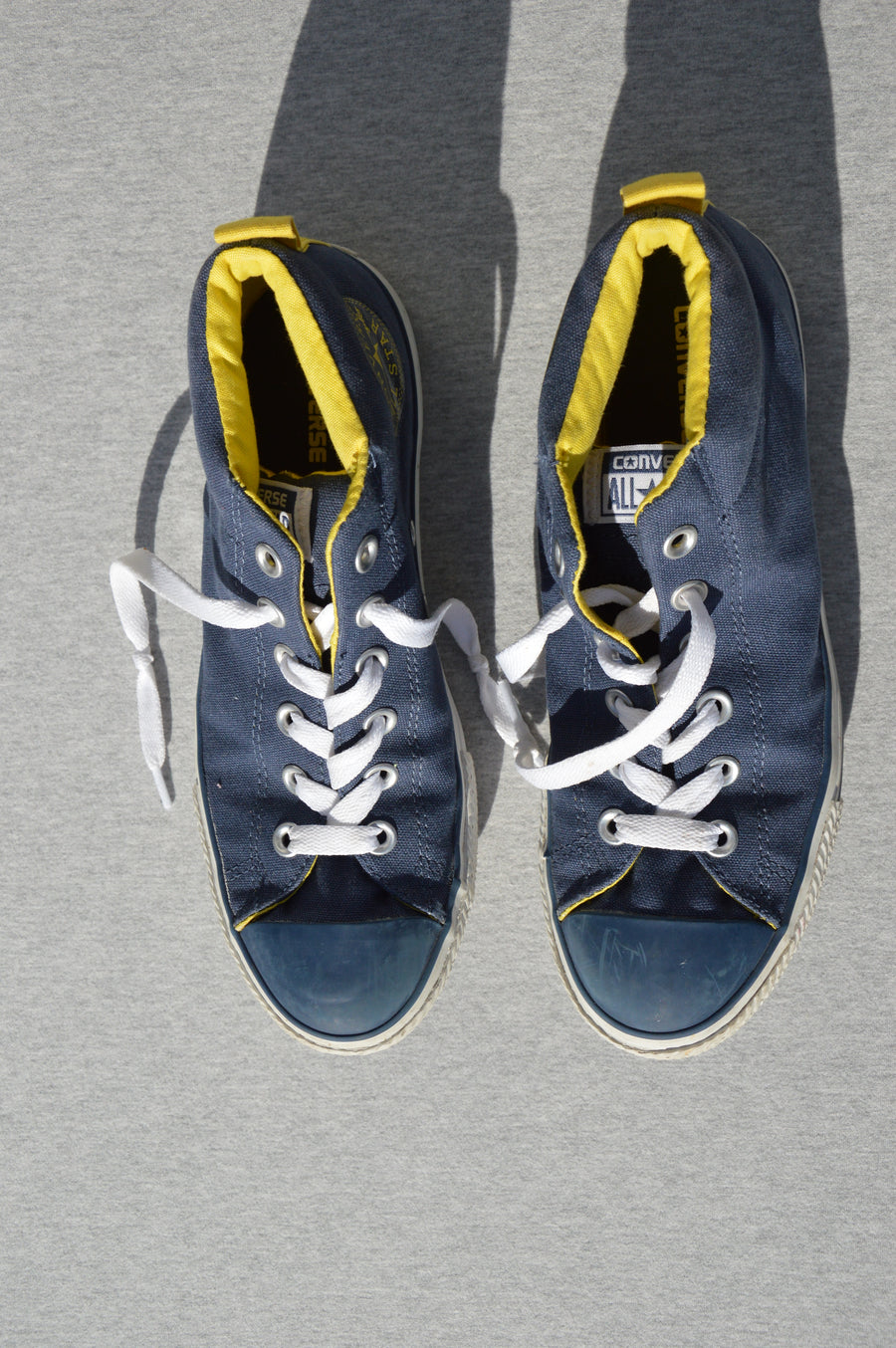 Converse All Stars - nearly new - blue & yellow high tops, size 5.5